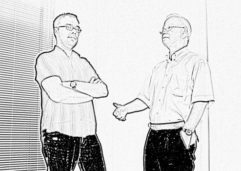 Geschäftsführer Dipl. Ing. Thomas Neumann (re.) und Dipl. Ing. (FH)Jörg Münch (li.)